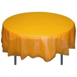 Ronde plastic tafelkleed kanarie geel