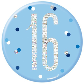 Blue Birthday Glitz Button