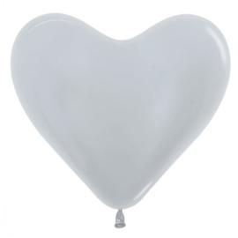 Harten Ballonen Metalic Zilver