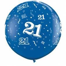 3ft (90cm) ballon cijfer 21 donkerblauw