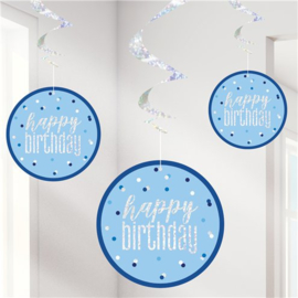 Blue Birthday Glitz HB Hanging Swirls