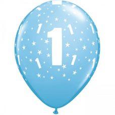 Helium ballon leeftijd 1 jaar lichtblauw
