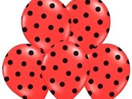 Pastel Rood/Zwart Dots Ballonnen