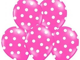 Pastel Fuchsia/Wit Dots Ballonnen