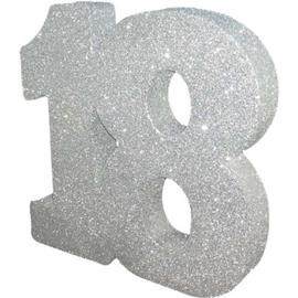 Glitter Zilver Tafeldecoratie 18 jaar