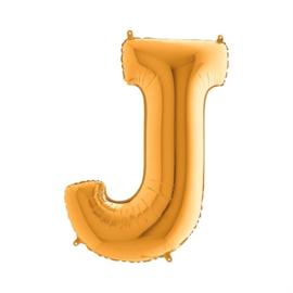 Folieballon letter J goud