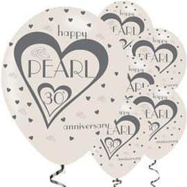 Ballonnen happy pearl (30 jaar) anniversary