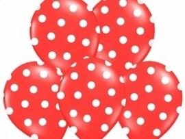 Pastel Rood/Wit Dots Ballonnen