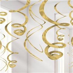 Gold Glitter Swirl Decorations