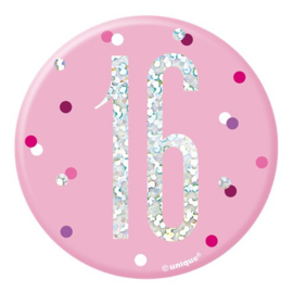 Pink Birthday Glitz Button