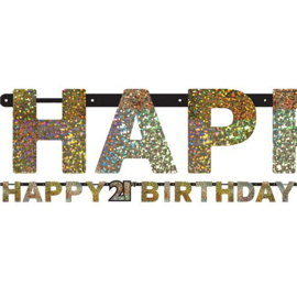 Letter Slinger Happy 21th Birthday Gold Sparkling Celebration