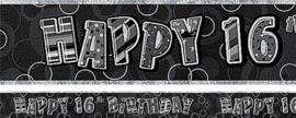 16th Birthday Black Holographic Banner