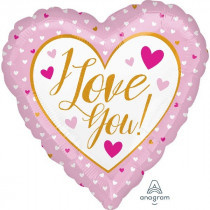 I Love You Hearts Pink Foil