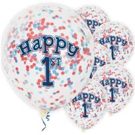 Confetti Ballonnen  1ST Birthay Blauw