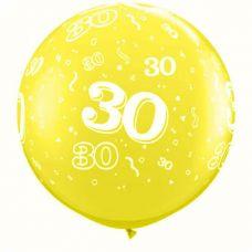 3ft (90cm) ballon cijfer 30 geel