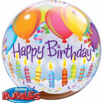 Happy B-Day Balloons & Candles Bubble Ballon