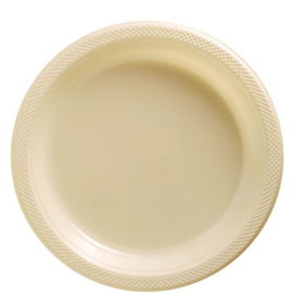 Plastic Dessert en Lunchbord Beige