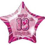 18th Star Foil Balloon Pink