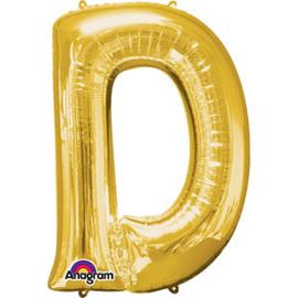 Folieballon letter D goud