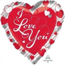 I Love You Hearts Silver Foil