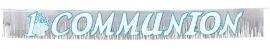 Radiant Cross Blue Communion Glitter Banner