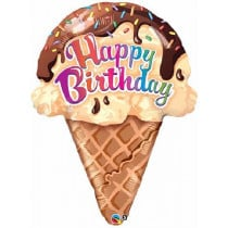 Happy B-Day Ice Creame  Supershape Folie Ballon