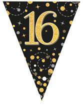 Vlaggenlijn 16 Jaar Zwart en Goud