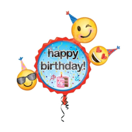 Happy B-Day Emoji Supershape Folie Ballon