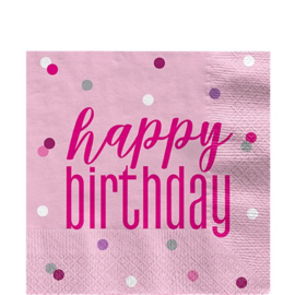Pink Birthday Glitz Happy Birthday Servetten