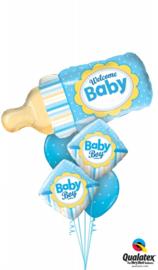 Welcome Baby Boy Bottel Ballonnenboeket