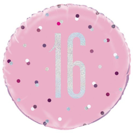 Pink Birthday Glitz 16 Folie Ballon