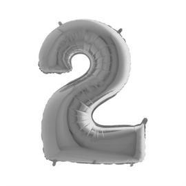 Folieballon cijfer 2 zilver