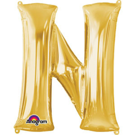 Folieballon letter N goud
