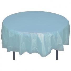 Ronde plastic tafelkleed  licht blauw