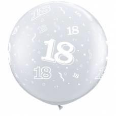 3ft (90cm) ballon cijfer 18 transparant