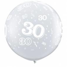 3ft (90cm) ballon cijfer 30 transparant