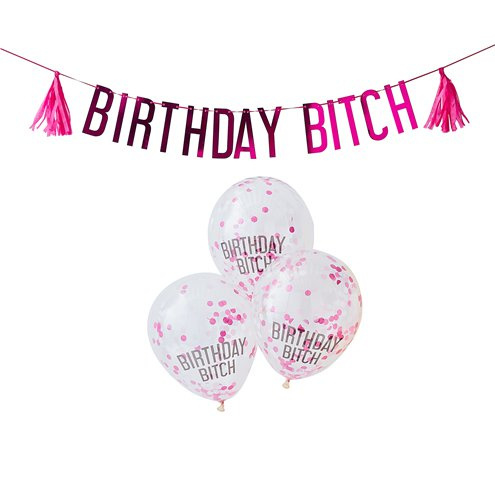 Birthday Bitch Letter Banner en Ballon