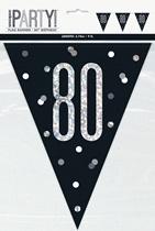 Party Flag Black Glitz 80th Birthday