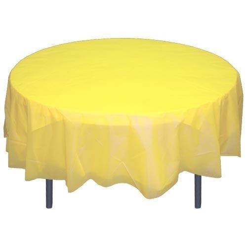 Ronde plastic tafelkleed  geel