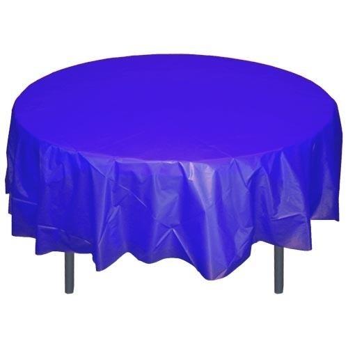 Ronde plastic tafelkleed royal blue