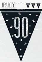 Party Flag Black Glitz 90th Birthday