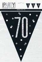 Party Flag Black Glitz 70th Birthday