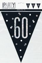 Party Flag Black Glitz 60th Birthday