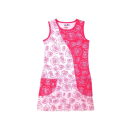 000020  LoFff jurk - Wit-  roze  roosjes Z8109-02