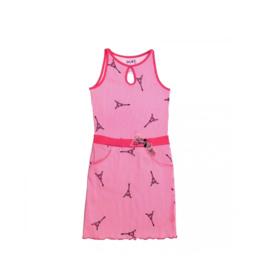 00020 LoFff jurk - wit- roze Z8111-01