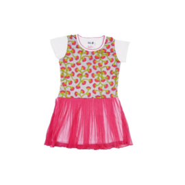LoFff jurk enbroidery short sleeve- Fuchsia- white Z7903-01A