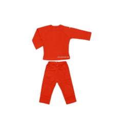 0 Shirtje  broek en longsleeve oranje maat 74