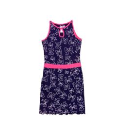 000011  LoFff jurk - Wit- donker blauw roze Z8111-02