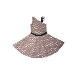 0009 LoFff A-Symmetrisch jurk -Sand/Wit/Zwart- Z7972-01