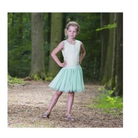00050 LoFff jurk Dancing Dress off white-mint Z8186-01